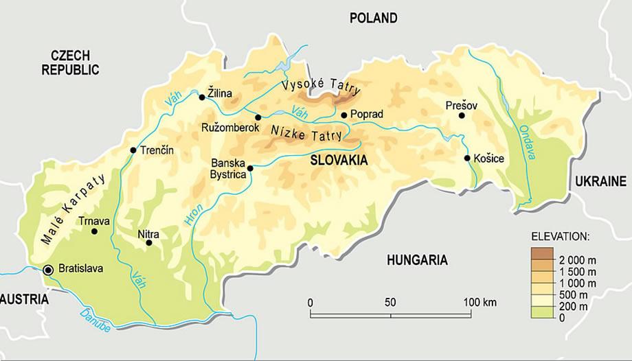 Harta Slovaciei Cu Relief